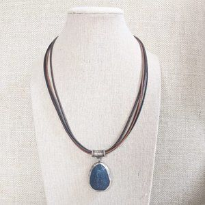 Silpada Blue Jade Sterling Silver Leather Necklace